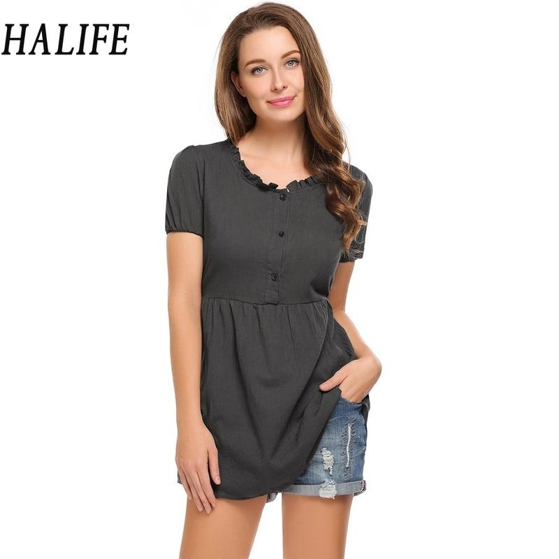 HALIFE Summer linen Women Blouses Clothes Casual O-Neck Short Sleeve Button Ruffle Blouse Pregnant Long Tunic Tops Femme 730