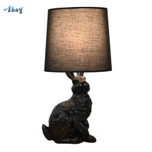 Art Deco Resin Rabbit Shape Creative Led Table Lamps Black/white Cloth Lampshade Living Room Bedroom Elegant Table Decoration(China)