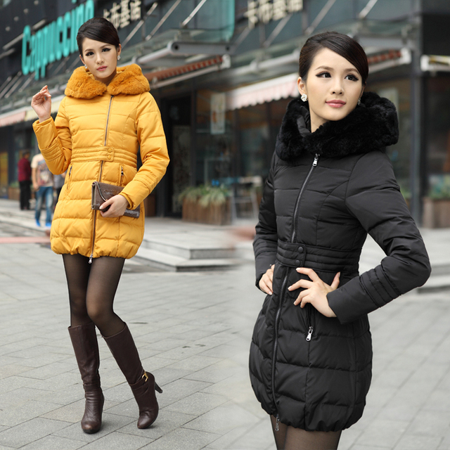 Free shipping 2013 winter new arrival women's elegant slim medium-long rabbit fur down coats 0221071310