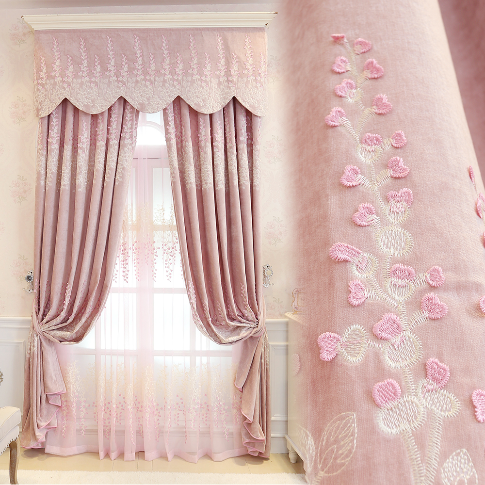 Princess pink embroidery curtains Jacquad tulle curtains Elegant sakura embossed shade curtains for bedroom window Customizable