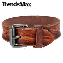 Trendsmax 20mm Wide Mens Womens Unisex Brown Green Black Orange Handmade Leather Bracelet Wristband Buckle Jewelry Gift LBM72(Hong Kong,China)