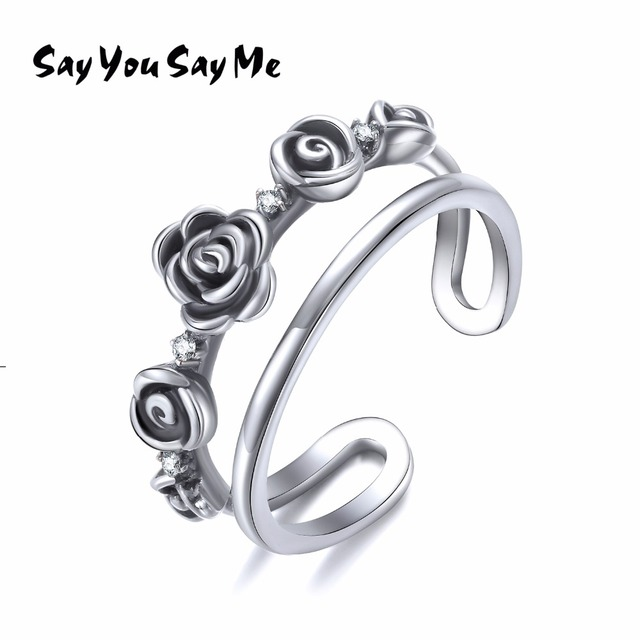 925 Sterling Silver Elegant Flower Rings Unisex Wedding&Engagement Cuff Rings Sa