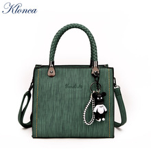 Klonca freeshipping new design VINTAGE female handbag with zipper 5 colors VERSITILE PU leather crossbody bag hot sale 2019