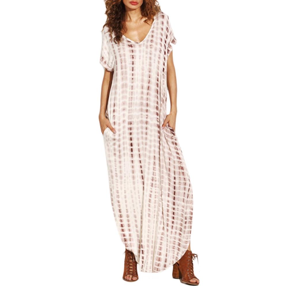 New Fashion Women Sexy Deep V-Neck Short Sleeve Stripe Print A Line Stripe Dress Vestidos Women Dress Clothes #279919