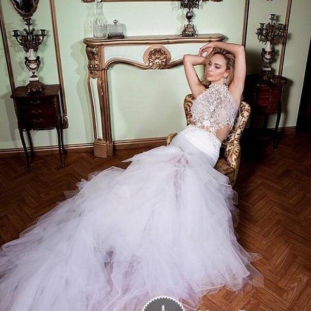 Us 185 99 Fashion Fake Two Pieces Wedding Dresses Halter Handmade Appliques Beads Mermaid Wedding Gown Tutu Layers Bottom Boho Bride Dress In