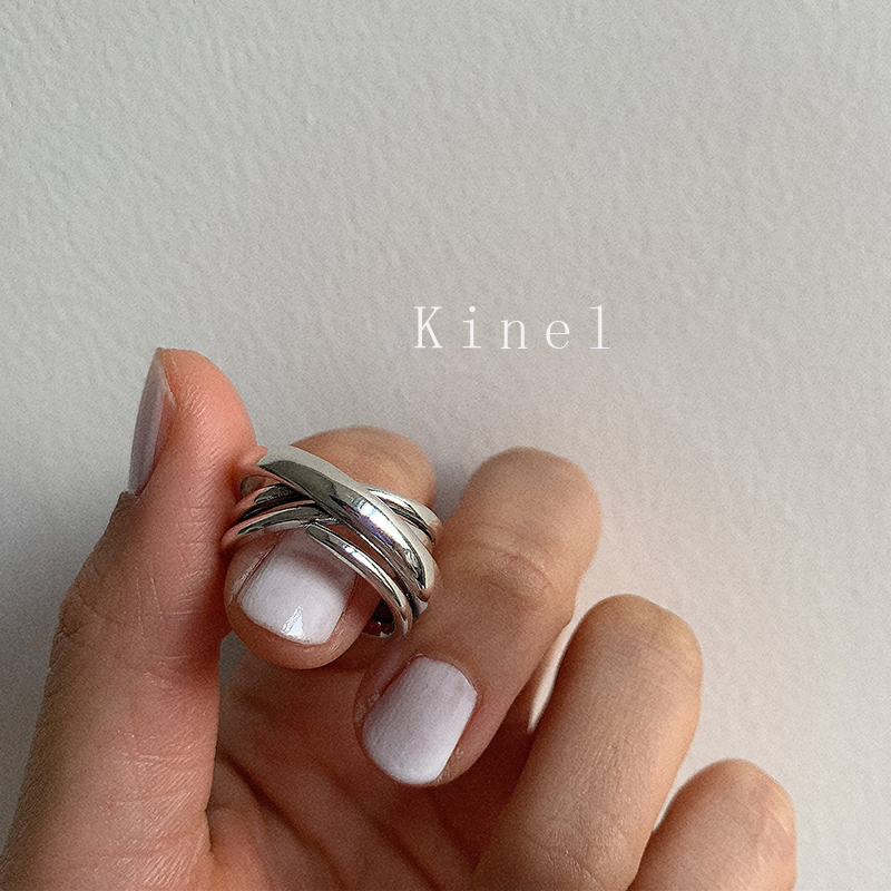 Kinel S925 Sterling Silver Ring Personality Multi-layer Cross Vintage Jewelry Neutral Style Simple Open Ring Best Gift