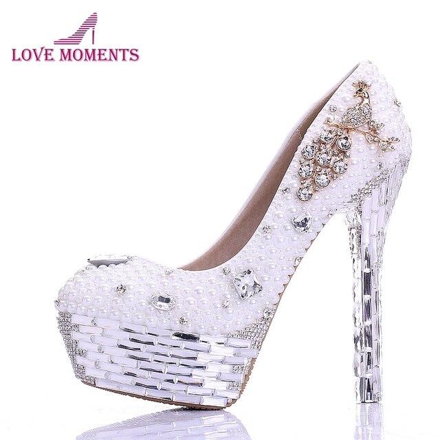 44d9d61fb47 Ladies High Heel Handmade Fashion White Pearl Wedding Shoes Rhinestone 100%  Designer Bridal Dress Shoes Silver Crystal Heel