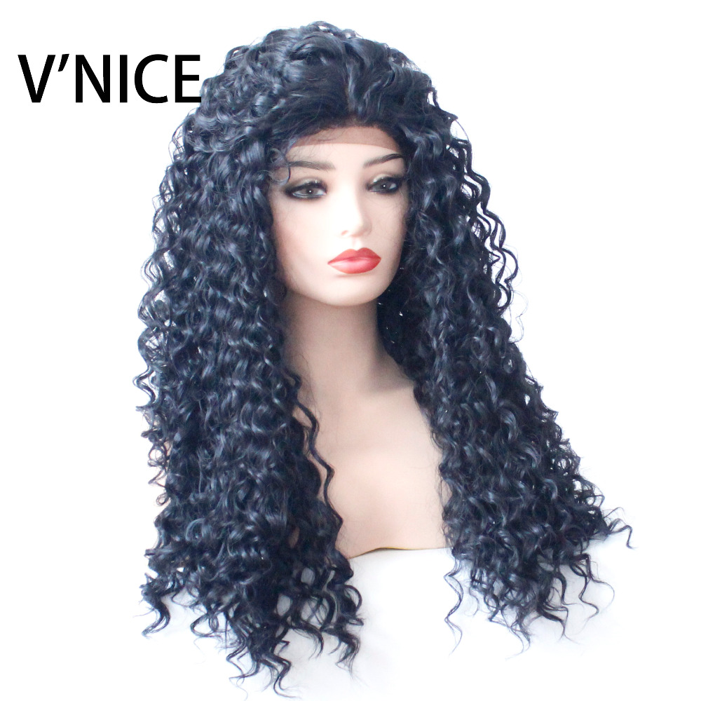 V'NICE Kinky Curly Synthetic Lace Wigs Natural Black Heat Resistant Synthetic Lace Front Wig for Black Women Curly Wig