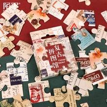 46Pcs/box Vintage Jigsaw Puzzle Sticker Scrapbooking Creative DIY Bullet Journal Decorative Adhesive Labels Kawaii Stationery