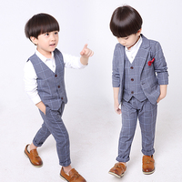 Baby Boys Formal Suit Blazers Plaid Children Wedding Suits Flower Boys Formal Tuxedos Jacket Vest Pants Tie School Kids Clothing