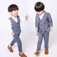 Baby Boys Formal Suit Blazers Plaid Children Wedding Suits Flower Boys Formal Tuxedos Jacket Vest Pants Tie School Kids Clothing