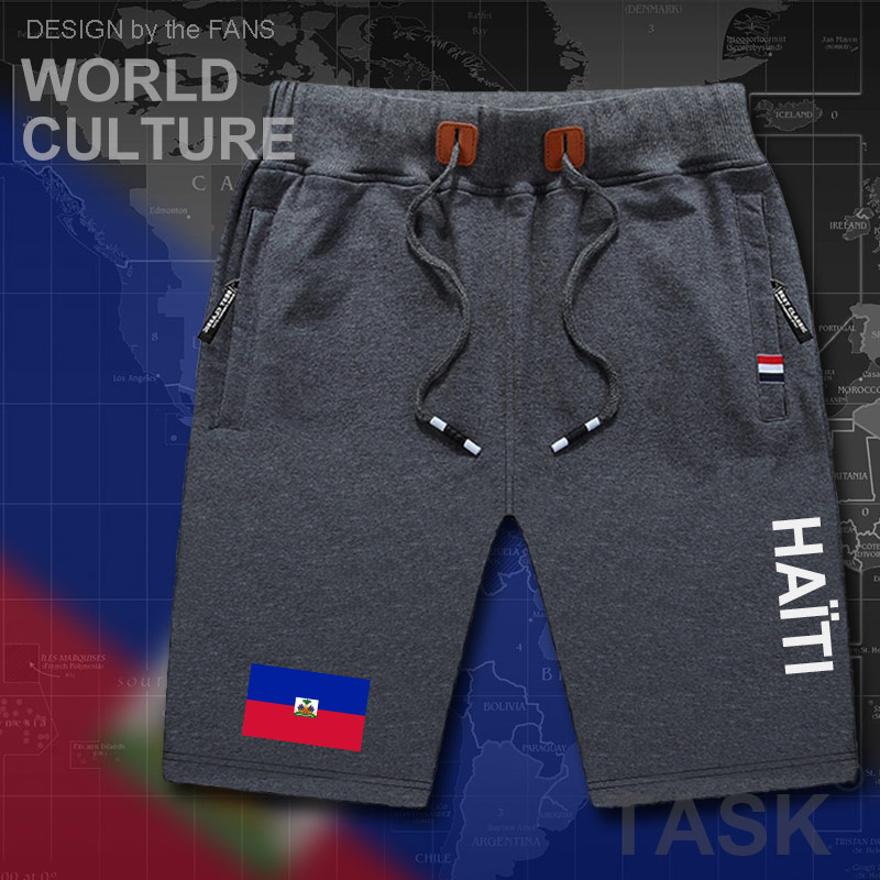 Haiti Haitian Mens Shorts Beach Man Men's Board Shorts Flag Workout Zipper Pocket Sweat Bodybuilding  Hayti Ayiti Country Flag