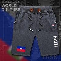Haiti Haitiano homem calções de praia dos homens shorts da placa dos homens bandeira bolso com zíper suor treino musculação Hayti Ayiti bandeira do país