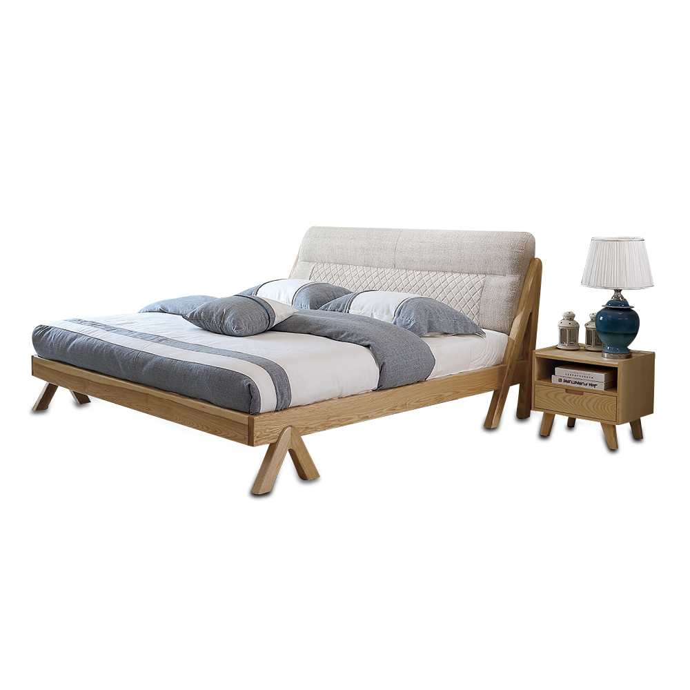 1122H3013  1.8m 5.91ft 70.9in Modern minimalist wedding king size Original Nordic style All solid wood large bed frame smoby детская горка king size цвет красный