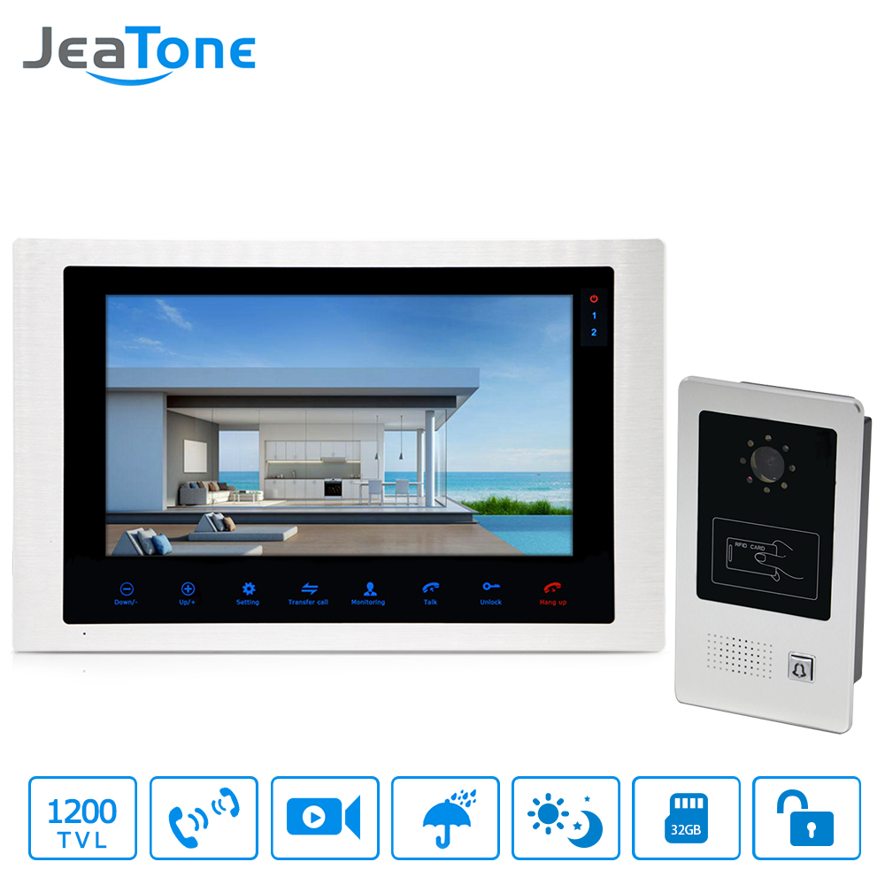 10 Inch Video Door Phone Home Video Intercom 4-Wired Doorbell Monitor Intercom Waterproof Wide View Angle Call Panel + RFID Card