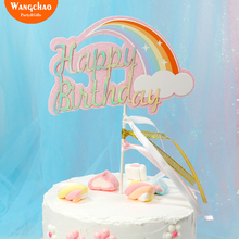 Rainbow Happy Birthday Cake Topper Pink&Blue Cupcake Topper Gift for Kids Favors Boy&Girl Baby Shower Party Cake Decoration 2018 happy birthday dinosaurs party favors for kids cute plush dinosaurs key chain pendant gift for boy girls party decoration