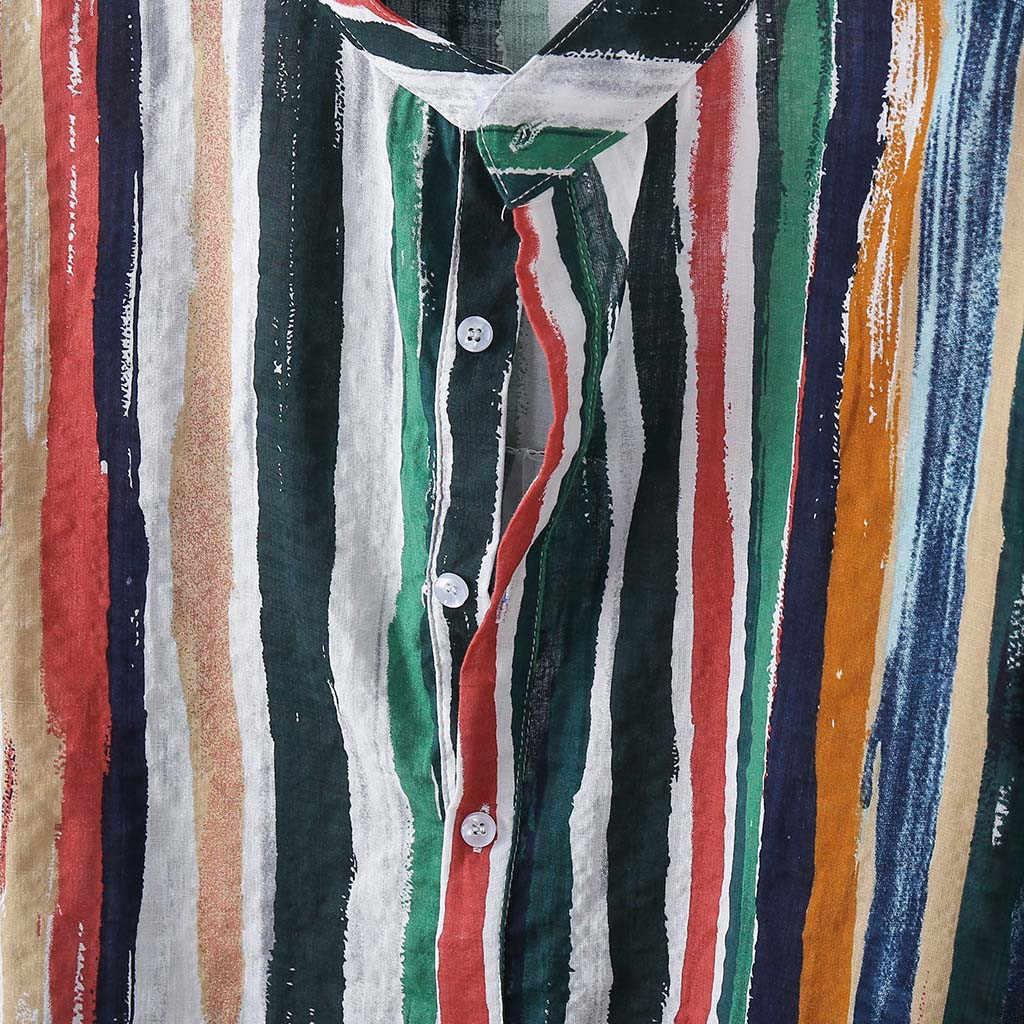 時装メンズ Tシャツは、ストライププリント長袖ラウンド裾ルーズシャツブラウスストリートビーチシャツトップスシュミーズオム