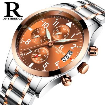 82614df61a0 ONTHEEDGE Top Marca Relógios Militar Homens Quartz Analógico à prova d  água  relógio de aço completo Relógio Homem Esportes Relógios Relogios Masculino  em ...