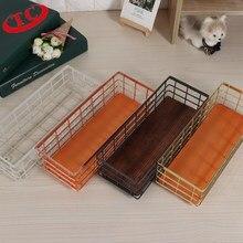 Nordic Wrought Iron Storage Basket Tableware Sundries Organizer Desktop Cosmetics Finishing Home decor