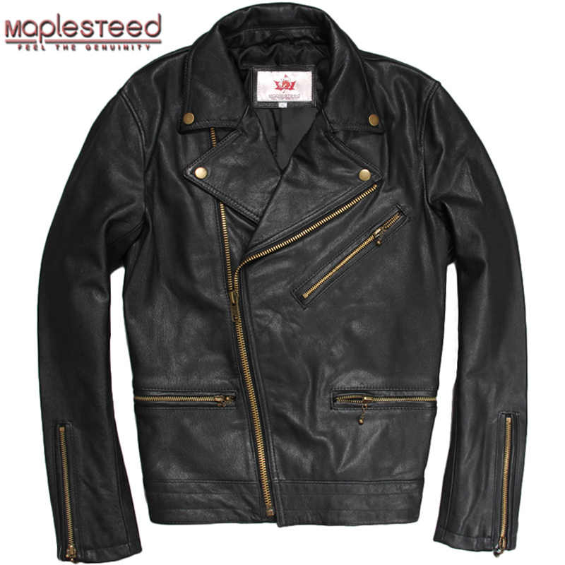 MAPLESTEED brand Men's Genuine Leather Jacket Men Real Natural Goat Skin Jackets Black Short Bomber Male Leather Coat Autumn 180
