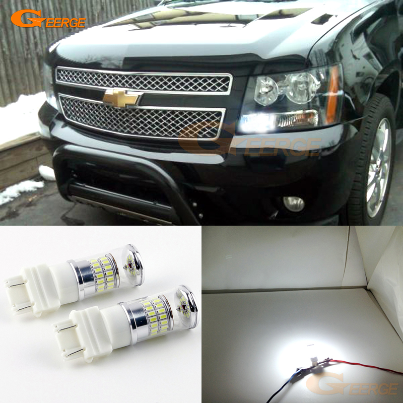 For Chevrolet Tahoe 2007-2014 Daytime running Lights Excellent Ultra bright White Reflector 3157 LED Bulbs Daytime DRL light ijdm hid white 15 smd 3535 powered 3157 t25 led bulbs for daytime running lights drl for 2011 and up jeep grand cherokee 6000k