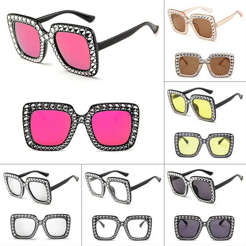 Cheap Imitation Diamond Square Sunglasses New Luxury Brand Designer Ladies Women  Frame Mirror Big Frame Sun Glasses For Female
