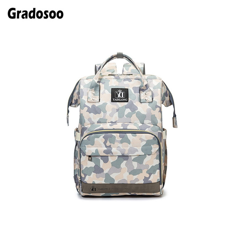 Gradosoo Camouflage Backpack Women Diaper Bag Baby Accessories Bag Fashion Mummy Nappy Backpack New Travel Maternity Bags LBF545