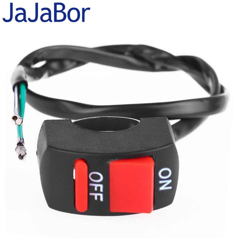 JaJaBor Universal Motorcycle Handlebar Fog Light Switch ON-OFF Button Switch 12VDC For U2 U5 U7 U8 LED Head Lamp Angel Eye Light