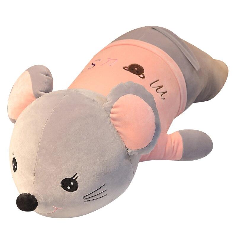 Cute Rat Plush Toy Sleeping Pillow Bed Crouching Rat Boy Doll Girl