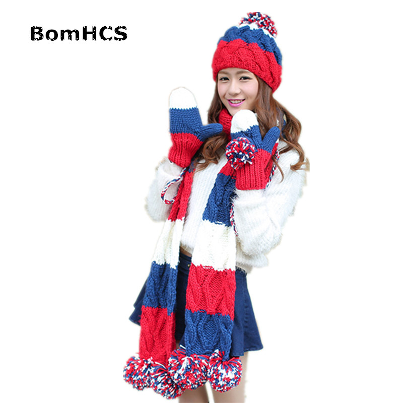 BomHCS 3pcs Gloves+ Beanie+ Scarf Suit Winter Warm Women's Knitted Fashion Hat Mittens Neckerchief Thickened Lining cute bear paw plush gloves winter warm thermal children knitted gloves full finger mittens cartoon gloves