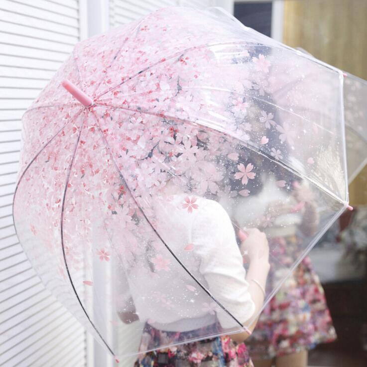 חדש אופנה שקוף מטריה מטריה פריחת הדובדבן אפולו הנסיכה נשים מטריית גשם סאקורה מטליות ארוכות מטפל