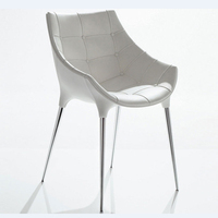 Free Shipping White Pu Leather Diana Armchair