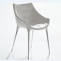 Белое обеденное кресло из искусственной кожи для гостиной  металлическое кресло для отдыха
