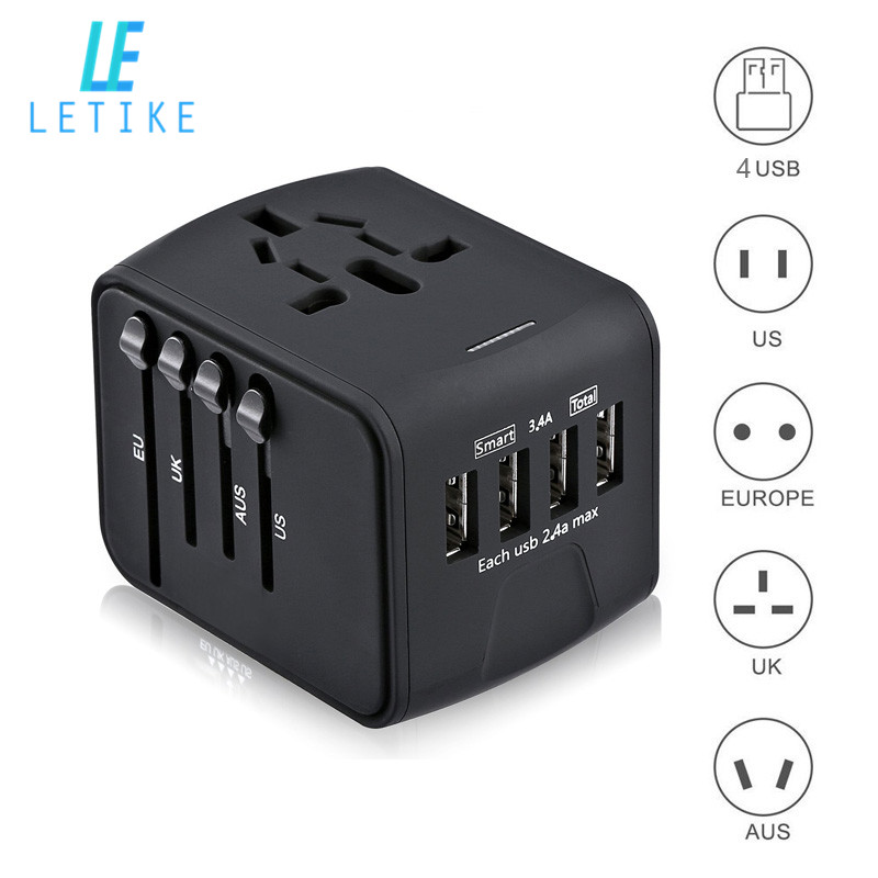 цена на Letike Travel Adapter International Universal Power Adapter All-in-one with 3.4A 4 USB Worldwide Wall Charger for UK/EU/AU/Asia