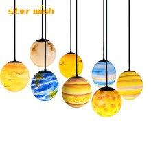 Звезда желание современные подвесные потолочные светильники для обеденный спальня детская комната восемь планеты Земля Луна hunging лампа