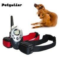 1000 متر pet الكلب التدريب الياقة ل كلب كبير متوسط قابلة lcd التحكم عن صدمة كهربائية تذبذب صوت الكلب ل 2 الكلاب