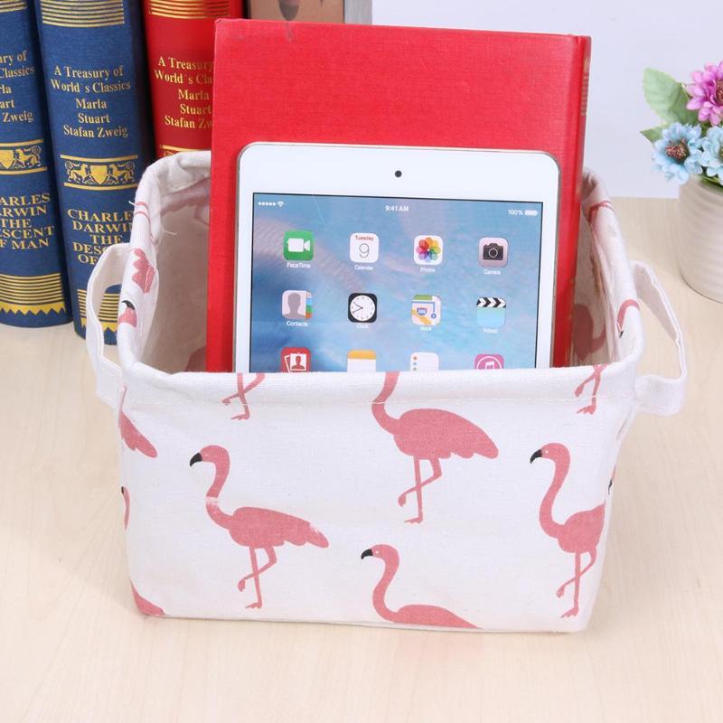 Folding Cotton Linen Storage Box Cute Cartoon Desktop Cosmetics Sundries Storage Basket Jewelry Box Makeup Organizer