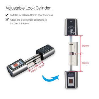 L5SR-Plus Small Bluetooth Smart Lock Electronic Cylinder Outdoor Waterproof Biometric Fingerprint Scanner Keyless Door Locks