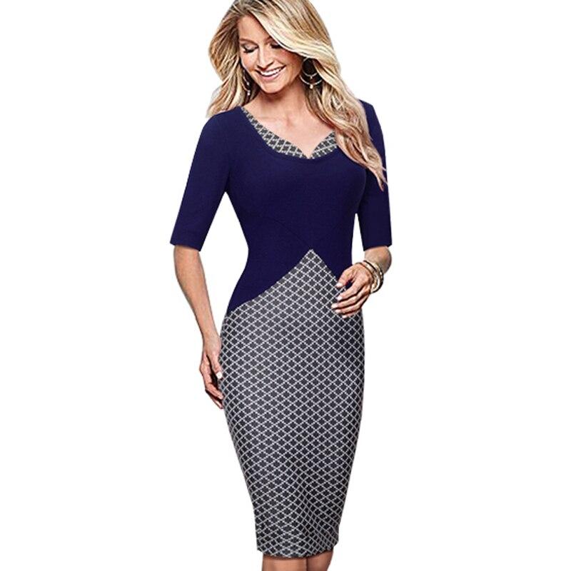 OUFANGMEIYI Store Autumn Elegant Women Half Sleeve Formal Office One-Piece Wear to Work Business Pencil Sheath Bodycon Dresses B324