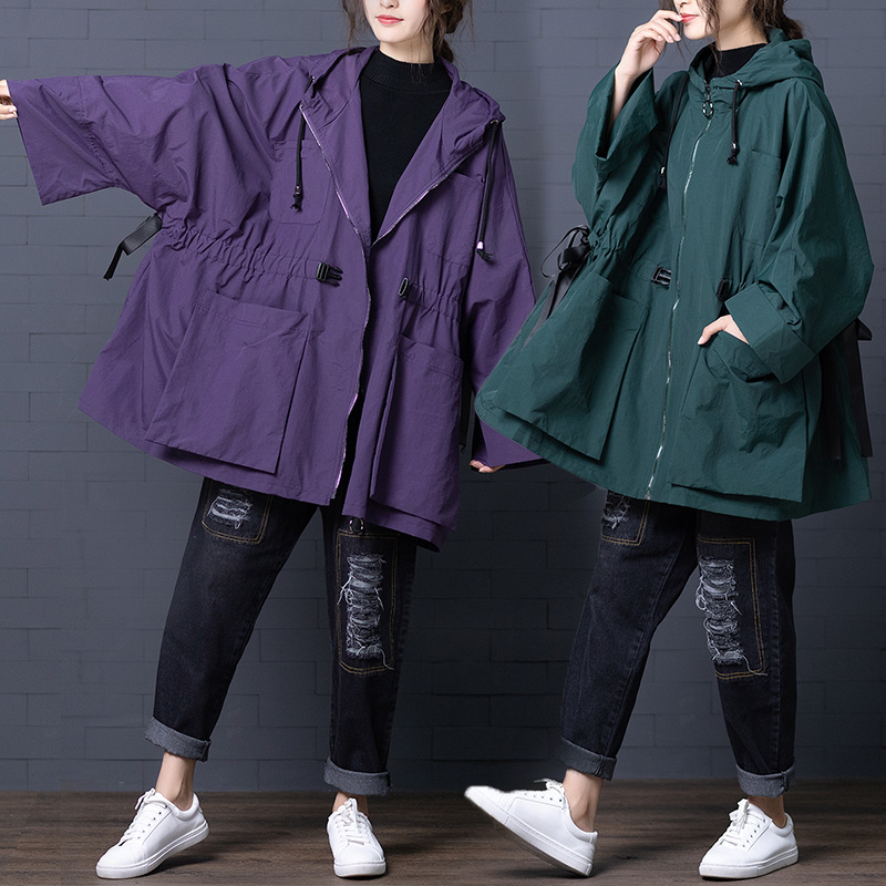 2019 Women's Autumn   Trench   Coat Female Lace Up Batwing Long Sleeve Drawstring Hooded Outerwear Spring Windbreaker Plus Size v842