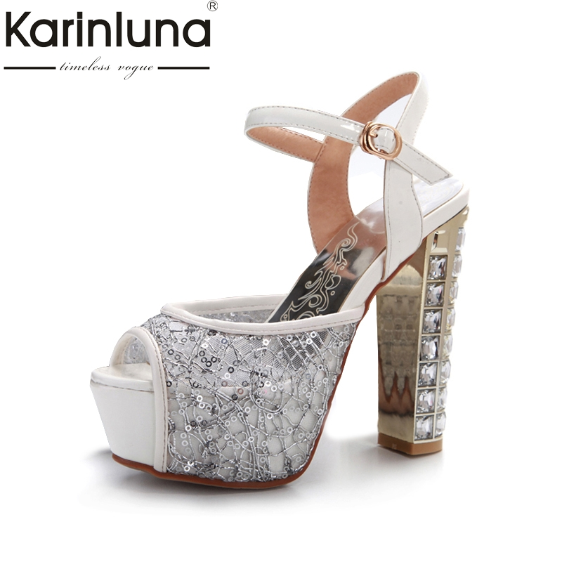 Karinluna 2018 Summer New Sexy Patent Leather Women Party Sandals Big Size 31-43 Lace Platform High Heels Crystal Shoes Woman universal pke car keyless entry alarm system with remote engine start push start stop button trunk release