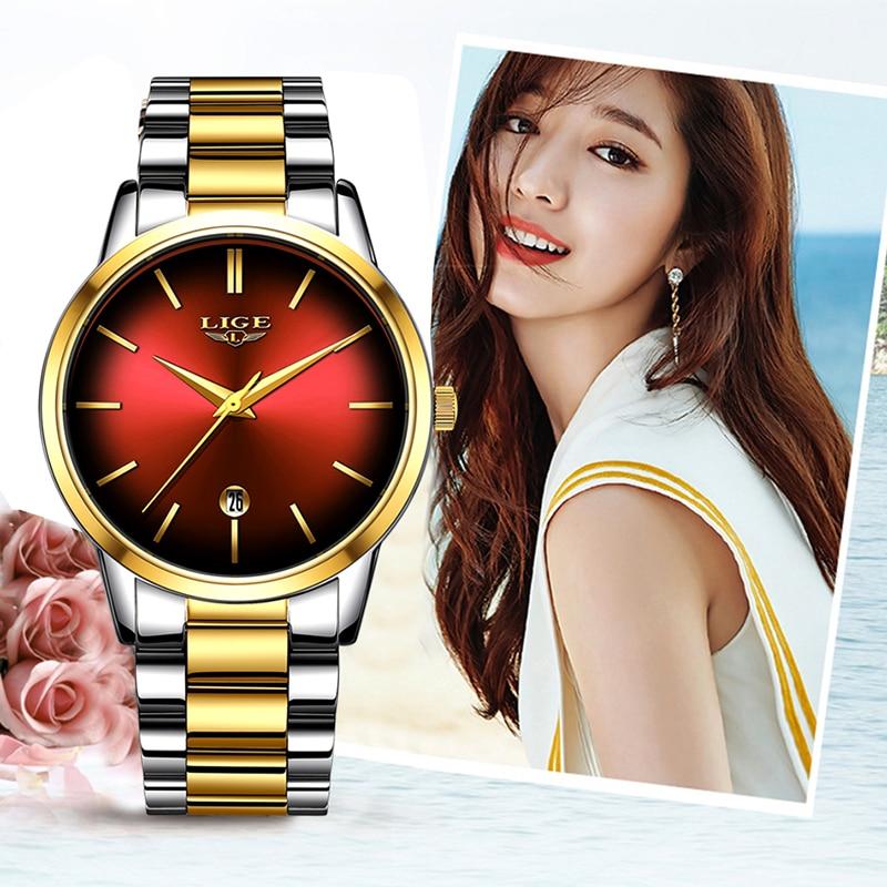 New LIGE Women Dress Watches Luxury Brand Ladies Quartz Watch Stainless Steel Band Casual Bracelet Wristwatch Reloj Mujer+Box
