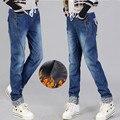 Calças das mulheres Calças de Inverno Denim Jeans Mais Grossa de Veludo Jeans Reta Cintura Alta Calças Compridas Calças de Brim das Mulheres Roupas C1631