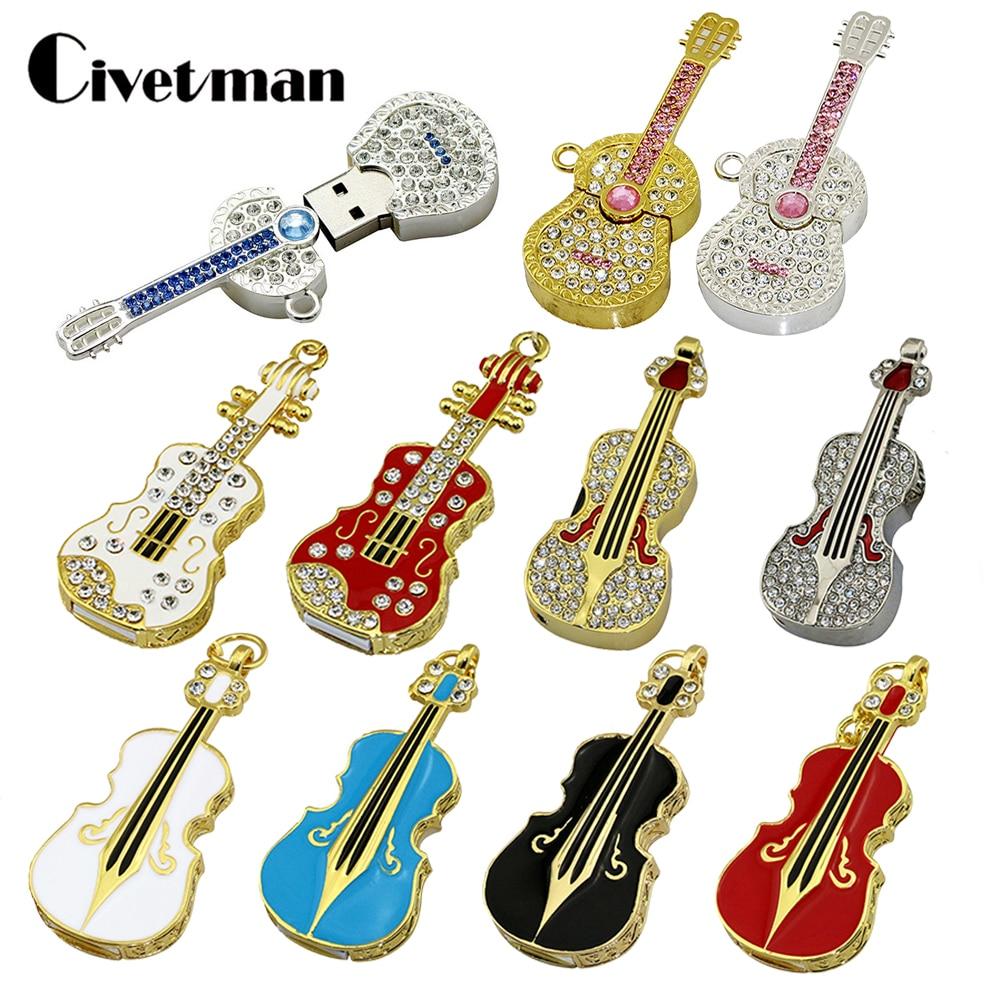 Pendrive Keychain USB Flash Drive Crystal Guitar Violin Necklace 4GB 8GB 16GB 32GB 64GB USB Stick Jewelry USB Flash Memory Gifts