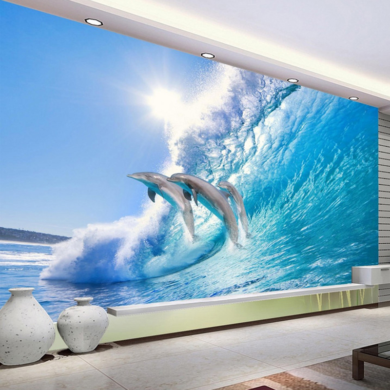 Custom 3D Photo Wallpaper Ocean World Dolphin TV Background Wall Decorations Living Room Bedroom Home Decor Wall Mural Wallpaper