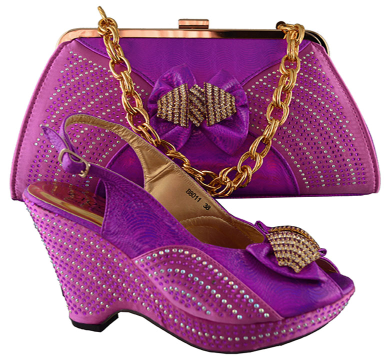 2017 Fashion Women African Italian Shoes And Bag Sets With Rhinestones Decoration Fuchsia Dress ...