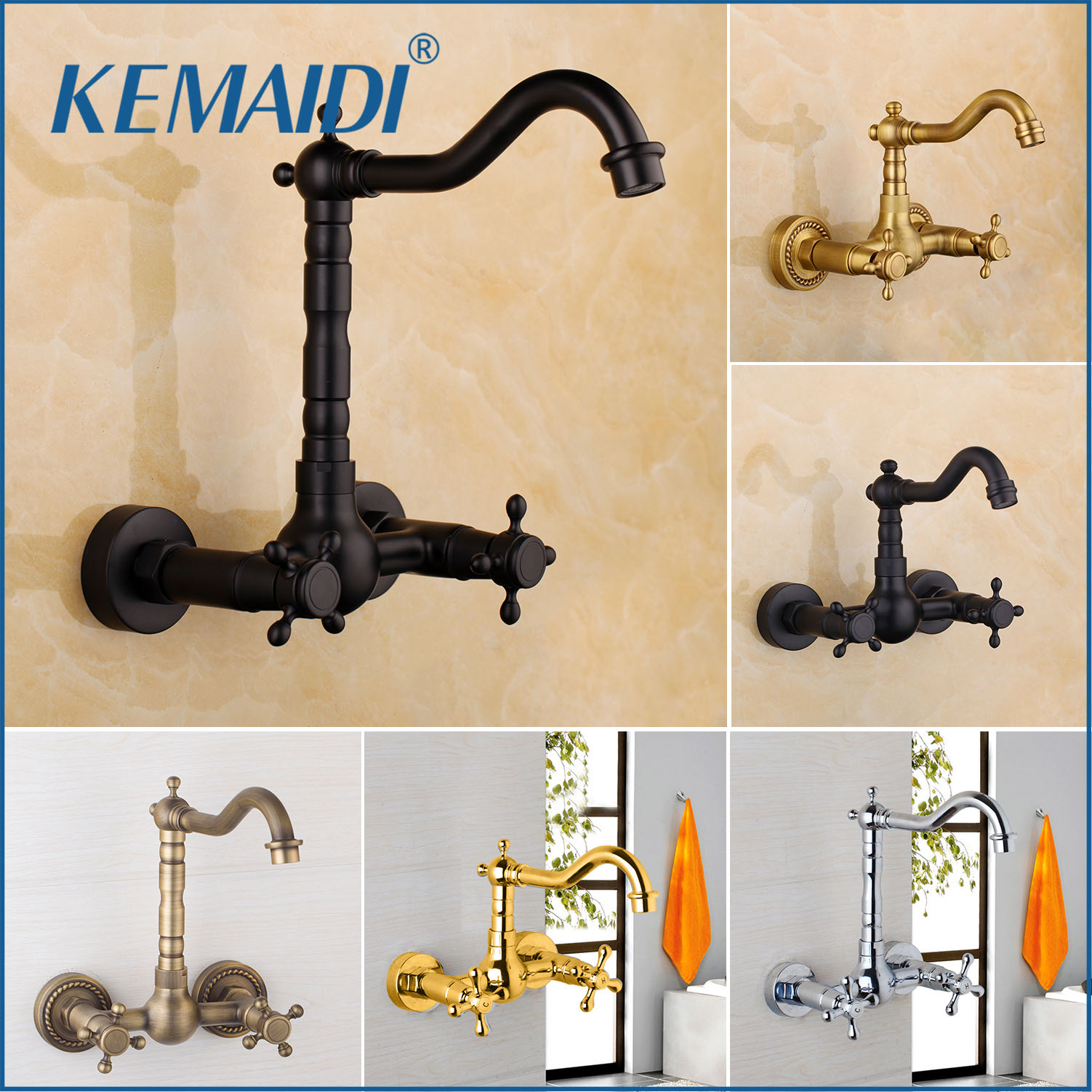 KEMAIDI 360 Swivel Antique Brass Bathroom Basin Sink Mix Tap Dual Handles Wall Mounted Kitchen Basin