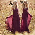 Maid of Honor Dress Long Sheer Crew Neckline Lace Two Styles Pleats Chiffon Wine Red Backless Cheap Burgundy Bridesmaid Dresses