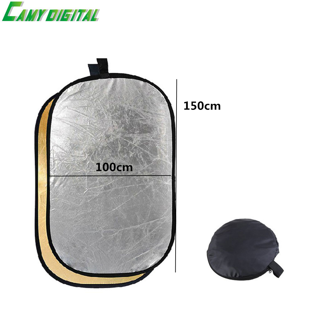 100*150CM/39x59 Studio Flash Accessories 2in1 Gold & Silver Reflector Dish Board Plate Oval For photography