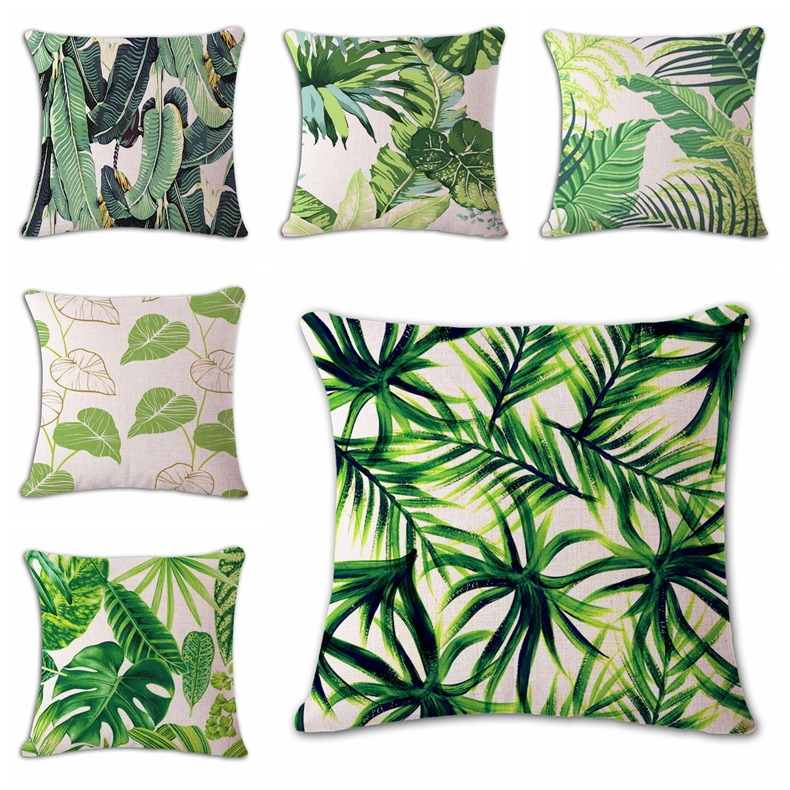 Decorative Pillows Tropical : 18 Square Banana Leaves Pillow Cover Cushion Cover Tropical plants Home Decor Throw Pillows ...